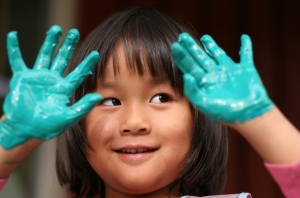 Girl with Blue Hands